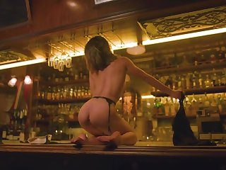 Sexy bartender does a underthings striptease at command