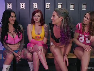 Lesbian hardcore foursome with Cheyenne Jewel and her sporty friends