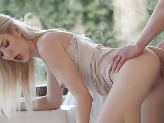 Blonde babe throating and sucking cock