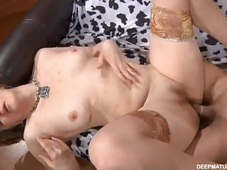 Of age old bag Leonora is sucking big dick and fingering the brush asshole