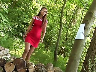 Claudia Rossi gets her ass fucked by a masked man around the forest