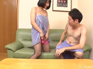 Cum play with a Japanese MILF babe getting her pussy creampied