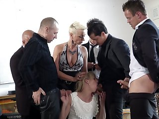 Tall Dutch bitch Jentina Small is fucked overwrought several generously endowed studs
