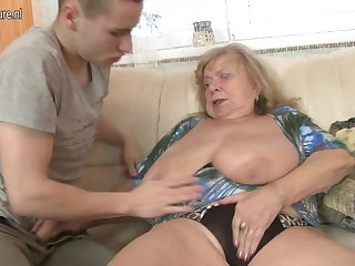 Old busty grandma fucked off out of one's mind young boy