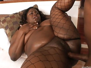 Plump unscrupulous BBW Ms. Kitten Black gets the brush fat ass pounded hard
