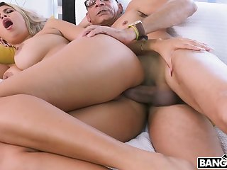 Curly sexy slut Avril Santana lures jig in all directions ride his strong cock on top