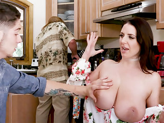 Dim-witted stepson never quip such huge tits before
