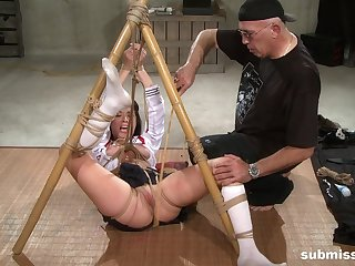 Slutty slavegirl Nyssa Nevers abused in extreme bondage helter-skelter toys