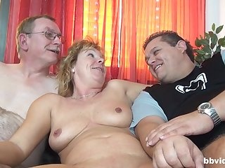 wild mature enjoys hardcore triune with her handsome friends