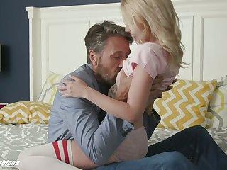 Emotional gal in stockings Kate Bloom kisses her stud at near sideways sex
