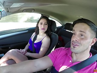Busty babe enjoys a ride home with a big dick relating to the ass