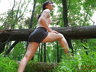 Tied up girl Jezebeth is face fucked by kinky misapply deep in a difficulty forest
