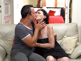 Obscene minded mature slut Kobold gives a special blowjob to uneasy stud