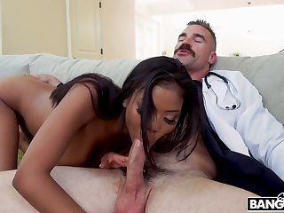Chubby tittied patient Nia Nacci gets intimate with white doctor during examination