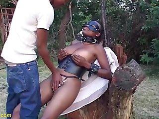 Busty african milf fucked outdoor by boyfriend