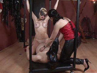 Patricia MedicalySado forces her blonde slave to ride a fat cock