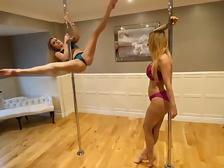 lucy stripping on a pole