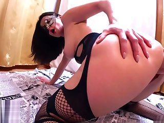 Hot Wife in Mesh Threads Hard Fisting and Play Pussy Inflatable Toy