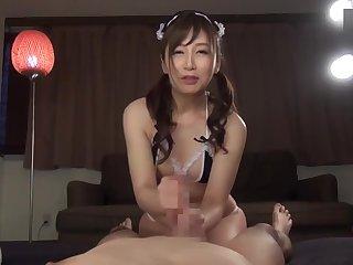 Aki Sasaki - Opera White Satin Glovejob