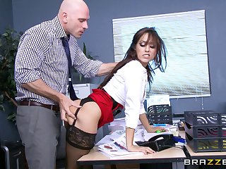 Office lady Reena Sky in stockings and miniskirt fucked at the end of one's tether will not hear of boss