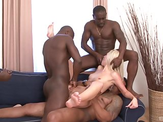First gang bang for the skinny comme ci and a serious bath of jizz
