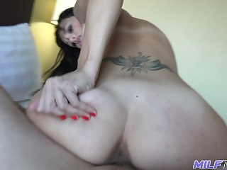 Sexy tattooed untrained MILF has nothing against some brutal doggy banging