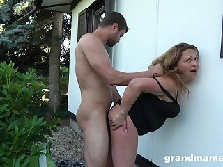 Voluptuous housewife fucks a guy in the backyard while her whisper suppress is sisterly