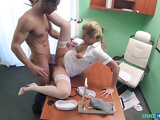 Attractive duo does the deed in a medicinal examination arena