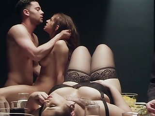 A sensual dinner with gorgeous Karmen Karma with the addition of other hot folks