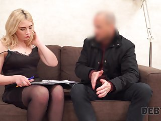 Libidinous blondie with plump booty Maria Hurricane gets fucked for debt