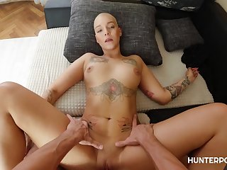 Enigma Satiny - Shaved Pussy headed floosie rides hard dick