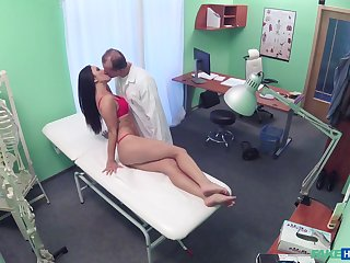 Doctor shows the babe his dick and fucks her