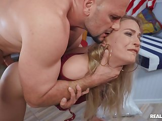 MILF rides enduring and swallows whole load in burnish apply end