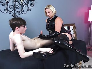 Latex Handjob - Nerd Guy and Kinky Mistress