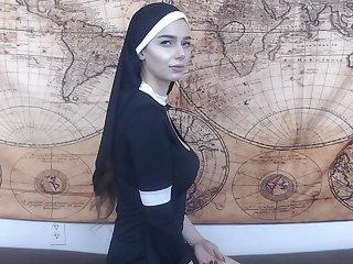 Smitten nun gets anal creampie