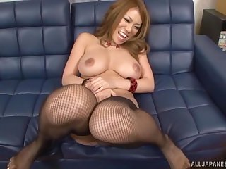 Busty Japanese darling spreads her legs to be licked and dicked
