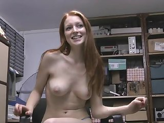 Upfront boobs redhead Sophie O'brien opens her paws to masturbate