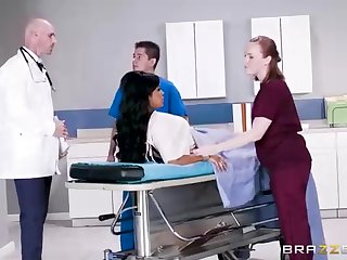Buxom dark-hued woman in the air a adorable tat, Mary Jean is taking her doctor's massive man-meat, in his office